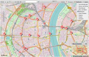 Eine Open Street Map der Stadt Köln. Hier befinden sich derzeit schon Kameras.